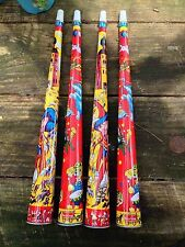 "Tin Circus Toy Horns Red & Yellow 16"" Vintage 50s Good Honk Lot Of 4"
