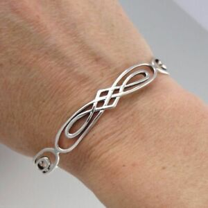 Celtic Infinity Knot Cuff Bracelet - 925 Sterling Silver - Adjustable Bangle