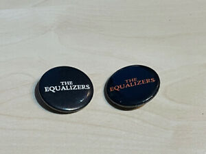 """2 x Vintage (1980s?) The Equalizers Pin Badges Band 1.25"""""""