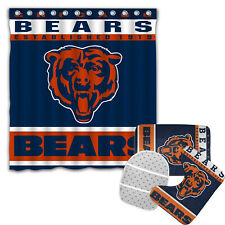 Chicago Bears 4PCS Bathroom Rugs Set Shower Curtain Bath Mat Toilet Lid Cover