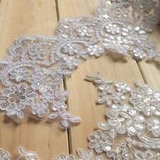 """Sequin Beaded Bridal Lace Trimming 5.9"""" Corded Embroidery Wedding Edging Ivory"""