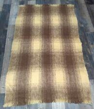 Vintage 100% Mohair Throw Blanket Scotland Plaid Fringe Cream/Brown Kingsmill