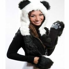 Plush Panda Hoodie Faux Fur Animal Full Hood Hat Beanie with Mittens Paw Print