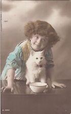 CG13.Vintage Rotary Postcard.Little girl giving her kitten a bowl of milk.