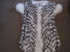 GENUINE SILVER FOX WHITE AND BLACK MINK FUR WINTER GILET UK 10-12 EU 44