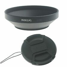 49mm Wide Angle Metal Wide-angle Lens Hood for Canon Nikon Camera+ Lens Cap