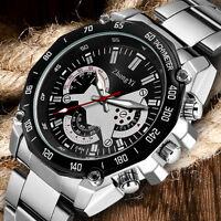 ZHONGYI Black/White Dial Men Analog Quartz Stainless Steel Business Wrist Watch