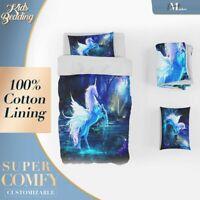 Unicorn Kids Fantasy Blue Duvet Cover Set Single Double Queen King Size