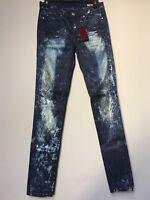 Blank NYC skinny classique metallic coated acid wash blue skinny jeans NWT