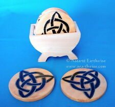 HAND PAINTED 6 x PIECE COASTER SET WITH TRIQUETRA Wicca Pagan Witch Goth