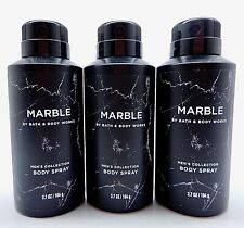 3 BATH & BODY WORKS MARBLE AMBER WOOD MEN'S COLLECTION ALL OVER BODY SPRAY 3.7oz