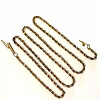 "14k yellow gold rope chain link necklace 2mm 8.5g 19"" estate vintage antique"