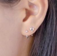 Tiny Dot Hugging Earrings Huggie 925 Real Sterling Silver Hoops Small Gold Hoops