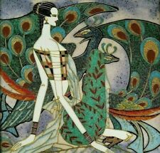 Art Deco Cloisonne Mixed Media Wall Plaque, Woman w/ Peacocks