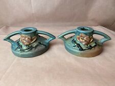 Roseville Pottery Magnolia 1156-2 1/2 Candle Holders Pair Candlestick