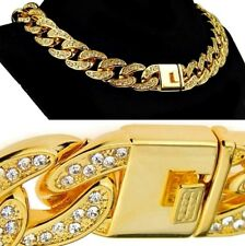 "Mens Choker 18k Gold Plated 18"" Inch x 18MM Cuban Chain Heavy Hip Hop Necklace"