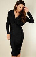 Black Bodycon Dress Size 14 Curve Midi Ruched Ax Paris Hourglass BNWT