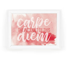 Carpe Diem Funny Motivational 5x7 Watercolor Wall Art Print for Home or Office
