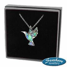 "Hummingbird Necklace Paua Abalone Shell Pendant Silver Fashion Jewellery 18"""