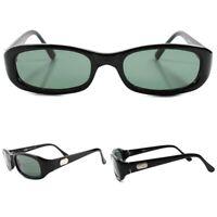 True Vintage 80s 90s Indie Hip Fashion Deadstock Black Rectangular Sunglasses