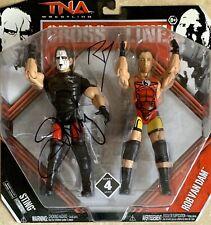 TNA CROSS THE LINE STING & ROB VAN DAM JAKKS SIGNED DUAL AUTOGRAPHED FIGURE NIB