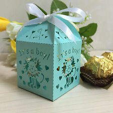 50xLaser Cut Lion It is a Boy Baby Shower Favors Candy Boxes Party Chocolate Box