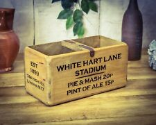 Vintage Style Solid Wood White Hart Lane Tottenham FC Storage Box Carry Handle