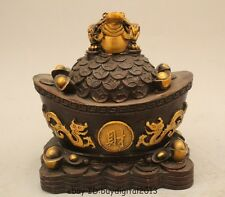 Chinese Copper Fengshui Wealth Dragon Phoenix Spittor Golden Toad Yuanbao Statue