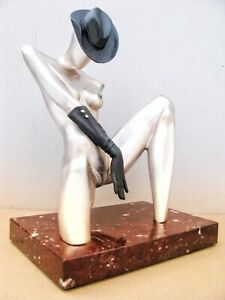 Lady & Cap Erotic Author's Sculpture Bronze Pedestal Natural Stone Free Shipping
