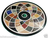 3'x3' Black Marble Round Dining Top Rare Marquetry Inlay Mosaic Home Decor H619