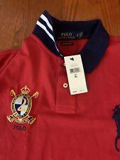 New Polo Ralph Lauren Big Pony Custom Slim Fit Polo Shirt Mesh Knit Crest Logo