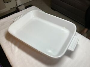 "Cuisinart White Enameled Ceramic Baking Casserole Dish 12 1/2"" Rect. 2 3/4 Qt."