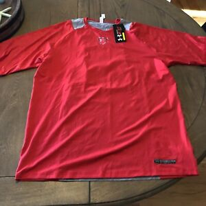 Men's NWT UNDER ARMOUR VENT COOL ZONED BASEBALL FITTED SHIRT SIZE XL RED