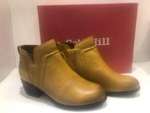 Rockport Women's Cobb Hill Anisa Leather V-Cut Block Heel Booties Yellow US 8
