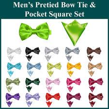 Men's Satin Plain Pre-Tied Bow Tie Pocket Square SET Self Tied Adjustable Hanky