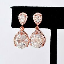 Cecilia Teardrop Halo Crystal Rose Gold Earrings Bridal Formal Wedding Vintage