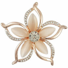 CRYSTAL ROSE GOLD PINK MODERN PLUMERIA FLOWER BROOCH MADE WITH SWAROVSKI ELEMENT