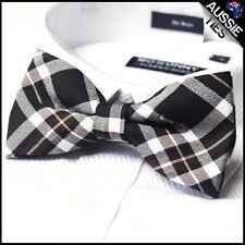 Burgundy Black Tartan Men's Bow Tie