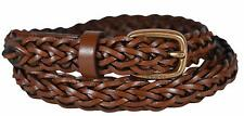 New Gucci Women's 380607 Brown Leather SKINNY Braided Golden Buckle Belt 34 85 M