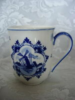 Genuine Vintage DELFT BLUE Hand Painted Windmill Mug - Made in Holland