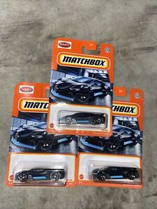 Matchbox 2018 Bugatti Divo ( Matte Black) 39/100 Lot Of 3