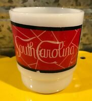 Vintage Fire King? Anchor Hocking South Carolina Mug Cup Stackable Milk Glass