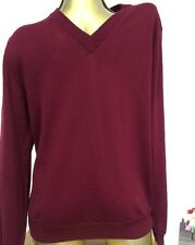 Men's designer Canali Jumper size Medium 38 chest Merino wool Burgundy jumper Z1