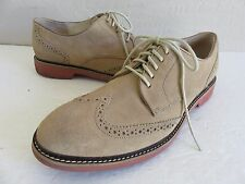 Cole Haan Wing Tip Oxford Shoes Beige Suede Leather Mens 11M
