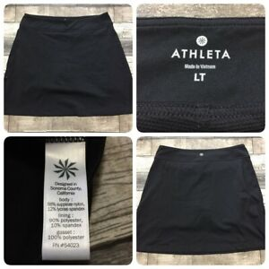 Athleta Skort Women's LT Black (A3) Zip Side Pocket EUC