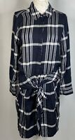 Lucky Brand Women's Tie Shirt Dress Long Sleeve Size:L Color:Black & White  nwt