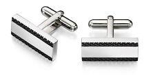 Fred Bennett Stainless Steel Black Textured Edge Rectangular Cufflinks