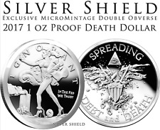 2017 Death Dollar Silver Shield BLINDED LIBERTY  1 oz .999 Silver Proof