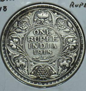 British India 1918 Rupee 190796 combine