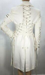 Women's Versace Vintage Runway Corset Leather Lace Fetish Coat Off White S/M